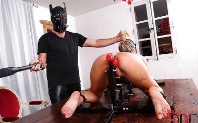 Фото №3 Заковал блондинку для грубой ебли секс машиной