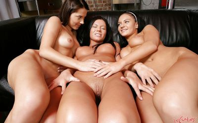 Фото №16 Три брюнетки лесбиянки трахают свои дырочки секс игрушками